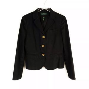 LaurenRalph Lauren BlackGoldButton Blazer 8